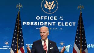 Joe Biden lors d'une conférence de presse à Wilmington, dans le Delaware, le 16 Novembre 2020