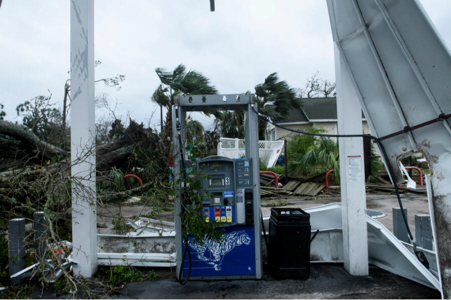Storm damage is seen after Hurricane Michael at a battered gas station in Panama City, Florida, on October 10, 2018.