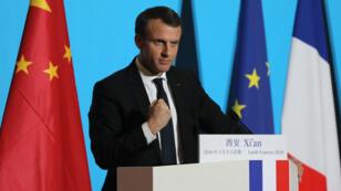 Emmanuel Macron à Xian, le 8 janvier 2018.