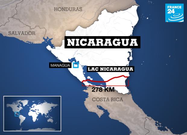 Le tracé du canal du Nicaragua