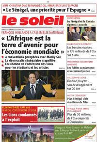 La Une du journal sénégalais Le Soleil