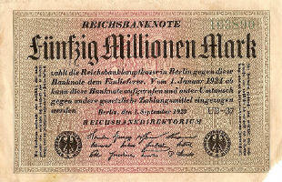 A 50 million mark banknote from 1923. Debt piled on Germany after World War I contributed to the country's galloping hyperinflation in the 1920s.