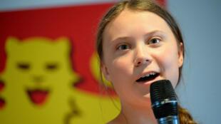 L'icône de la lutte contre le réchauffement climatique Greta Thunberg, le 21 juillet en 2019 à Caen.