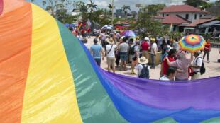 Manifestación ante el Tribunal Supremo de Costa Rica para pedir la legalización del matrinominio entre personas del mismo sexo, el 4 de agosto de 2018 en San José