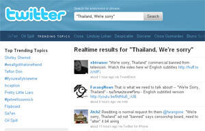 """""""Thailand, We're Sorry"""" on Twitter"""