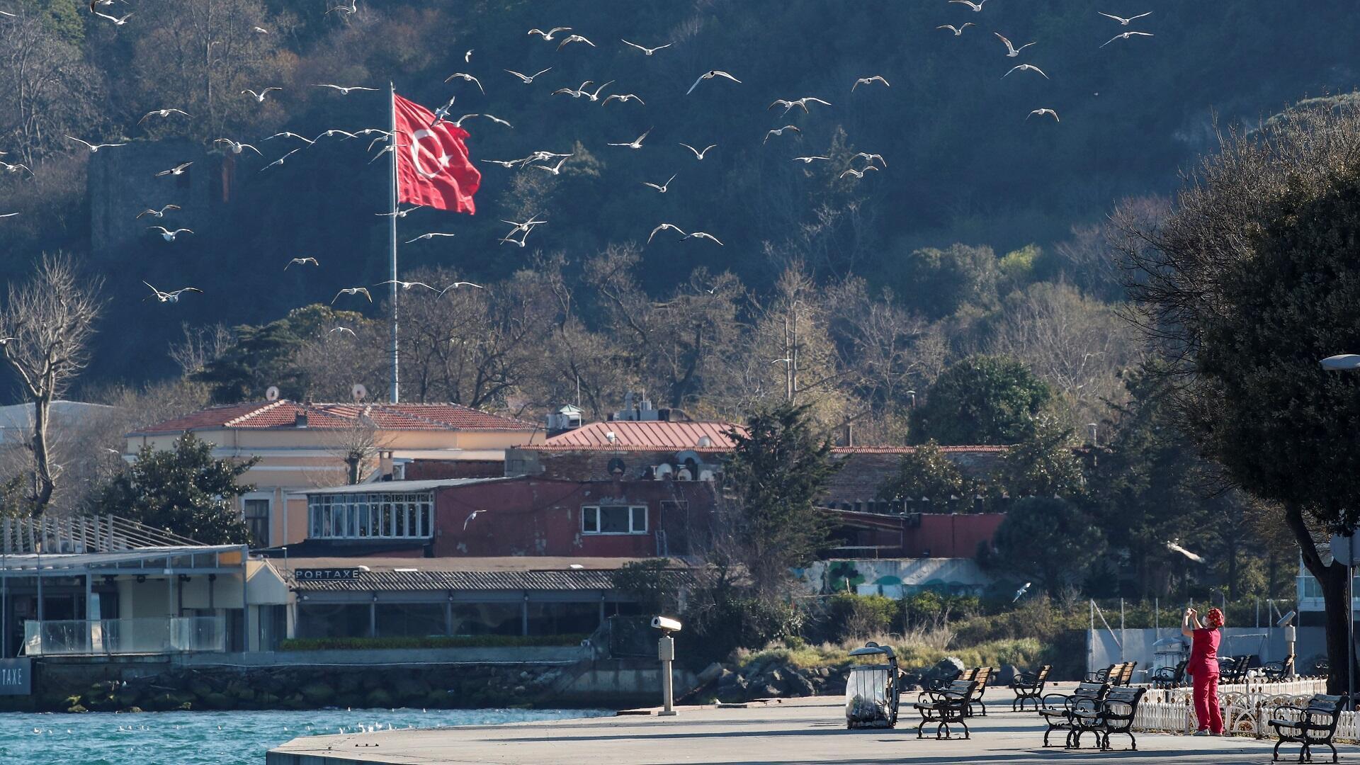 سيدة تصور النوارس في مدينة إسطنبول خلال فترة حظر للتجول لاحتواء تفشي فيروس كورونا، 12 أبريل/نيسان 2020.
