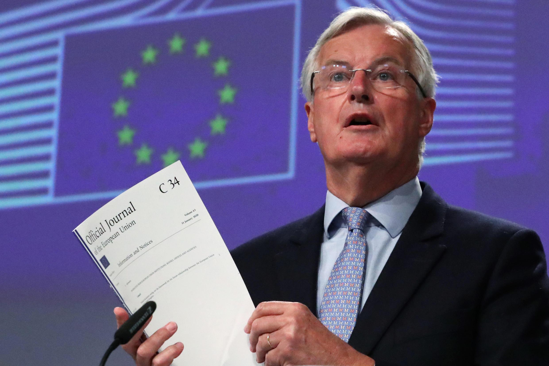 ميشال بارنييه، مفاوض الاتحاد الأوروبي، في مؤتمر صحفي بشأن مفاوضات خروج بريطانيا، في بروكسل، بلجيكا. 5 يونيو/حزيران 2020