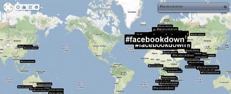La répartition géographique des tweets sur la panne de Facebook