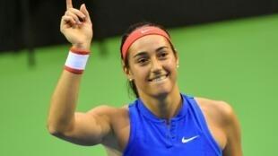 La Française Caroline Garcia lors de la Fed Cup contre la Belgique, le 10 février 2019 à Liège