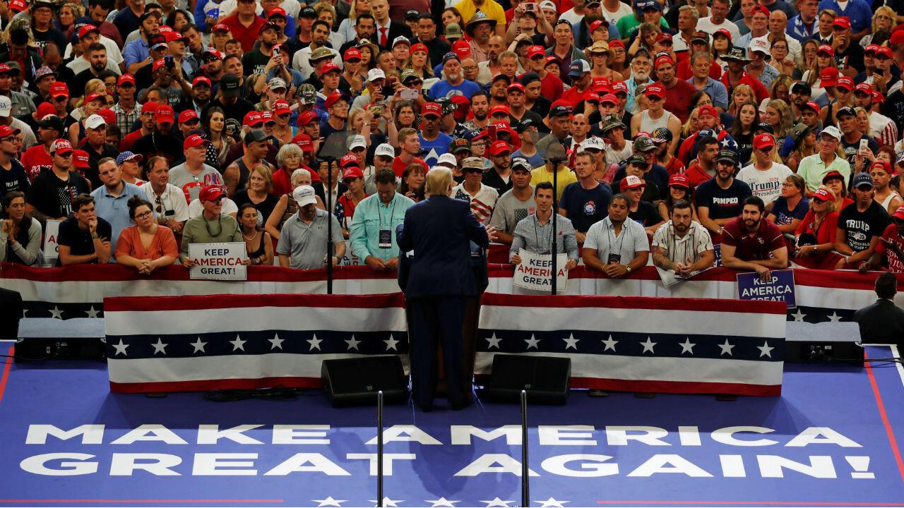 El presidente de los Estados Unidos, Donald Trump, durante el acto de oficialización de su candidatura a la reelección con en Orlando el 18 de junio de 2019.