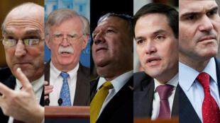 Elliott Abrams, John Bolton, Mike Pompeo, Marco Rubio y Mauricio Claver-Carone, los 'halcones' de Trump.