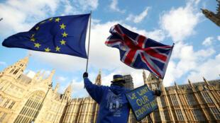 Un manifestante anti Brexit protesta frente al Parlamento en Londres, Inglaterra.