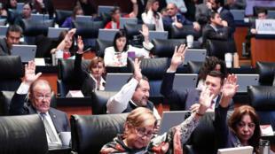 Vista general de senadores durante la votación de la aprobación de la reforma educativa en Ciudad de México, México, el 9 de mayo de 2019