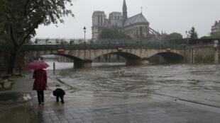 La Seine a inondé les berges à Paris.