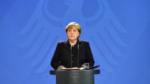 Angela Merkel le mardi 20 décembre lors d'une conférence de presse à Berlin.