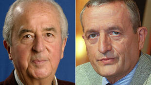 "This combination of pictures created on April 29, 2019 shows former French Prime Minister and President of the Foreign Affairs Commission at the National Assembly Edouard Balladur (L) posing on September 6, 2003 in Moliets during the UMP's European Youth Days and former French Defence minister Francois Leotard taking part in the Literature TV show ""Vol de Nuit"" on February 5, 2002 in Paris, to present his latest book ""La couleur des femmes""."