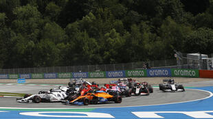 Too close for comfort: Leclerc and Vettel collide and both eventually are forced to retire