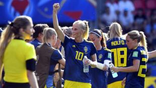 L'attaquante suédoise Sofia Jakobsson lors du quart de finale contre l'Allemagne, le 29 juin, à Rennes.