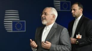 وزير الخارجية الإيراني محمد جواد ظريف في بروكسل، مايو/أيار 2018