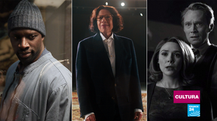 Fotogramas de Omar Sy, Elizabeth Olsen y Paul Bettany interpretando respectivamente a Assane Lupin, Wanda y Visión. A Fran Lebowitz, en medio, le sobra con hacer de ella misma.