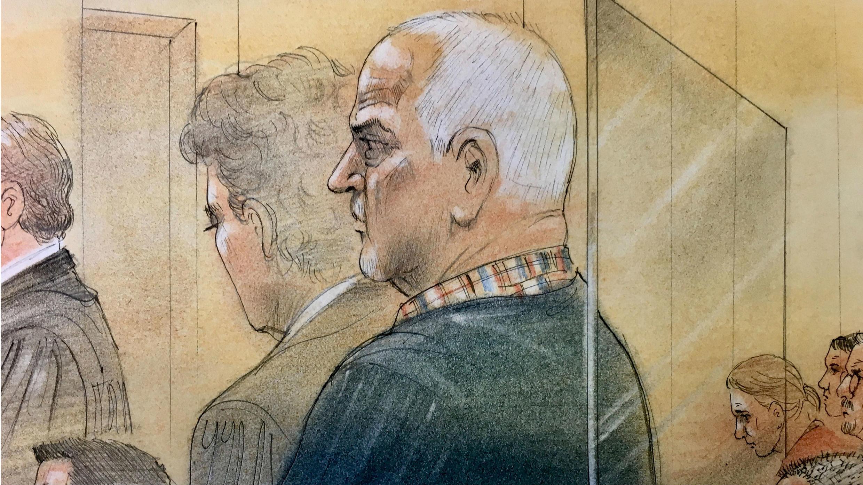 Dibujo de Bruce McArthur en la Corte Superior de Toronto, donde se declaró culpable de los asesinatos de ocho hombres, Toronto, Canadá, el 29 de enero de 2019.