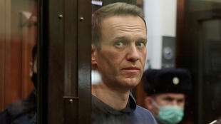 Russian opposition politician Alexei Navalny in a Moscow court on February 16, 2021.