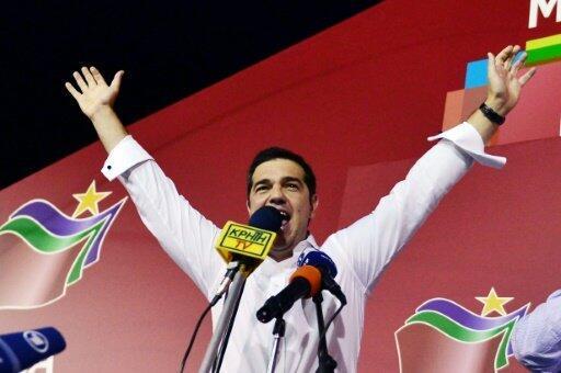 زعيم حزب سيريزا ألكسيس تسيبراس بعد فوز حزبه في الانتخابات التشريعية في 20 ايلول/سبتمبر 2015