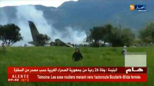 Un avion de transport militaire algérien s'est écrasé, le 11 avril 2018, près de Boufarik, au sud-ouest d'Alger.