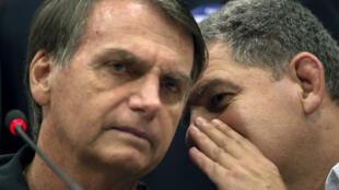 Jait Bolsonaro et Gustavo Bebbiano, le chef de file du PSL, le parti d'extrême droite qui a mené la campagne éléctorale parlementaire du président brésilien en octobre 2018