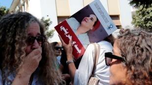 """Une manifestation en soutien à la journaliste Hajar Raissouni, accusée """"d'avortement illégal"""", devant le tribunal de Rabat, au Maroc, le 9 septembre 2019."""