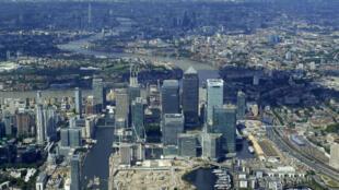 Vue aérienne du quartier financier de Londres, le premier août 2017.