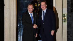 Le président du Conseil européen, Donald Tusk et le Premier ministre britannique David Cameron, le 31 janvier 2016 à Londres