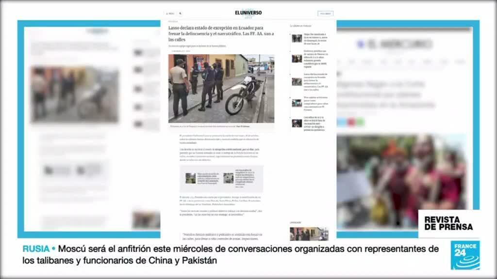 Titulares de los periódicos ecuatorianos El Universo, El Diario y El Mercurio, tras el decreto de estado de excepción en Ecuador.