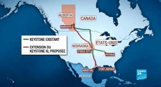 Carte du projet Keystone entre le Canada et les États-Unis