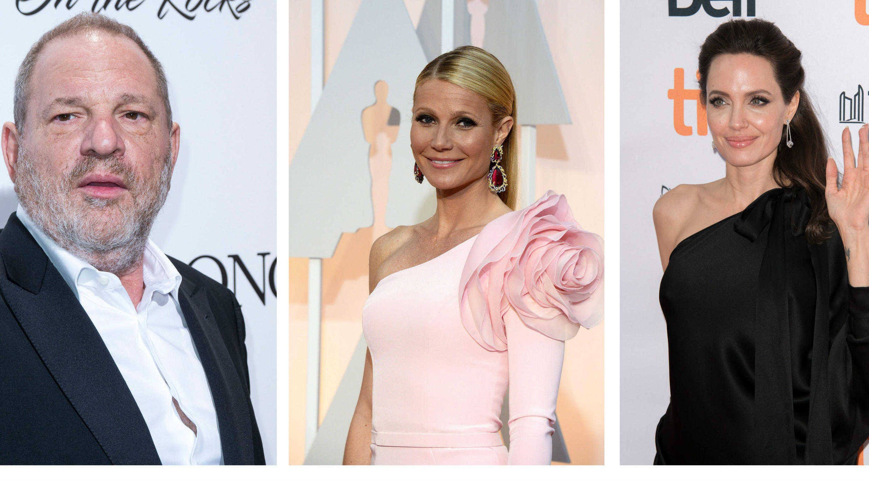 Las actrices Gwyneth Paltrow y Angelina Jolie acusan a Weinstein de acoso sexual.