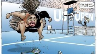 Image publiée dans le Herald Sun, montrant une caricature controversée de la championne de tennis Serena Williams dessinée par Mark Knight, diffusée le 11 septembre 2018 AFP PHOTO / MARK KNIGHT / HERALD SUN