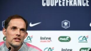 L'entraîneur du PSG Thomas Tuchel en conférence de presse au Stade de France le 26 avril 2019