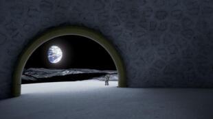 Image de concept de village lunaire.