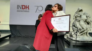 Fabiola Letelier, abogada defensora de los DD. HH. recibe el Premio Nacional de Derechos Humanos, en Santiago de Chile, Chile el 23 de julio de 2018.