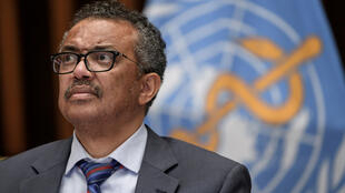 World Health Organization (WHO) Director-General Tedros Adhanom Ghebreyesus attends a news conference organized by Geneva Association of United Nations Correspondents (ACANU) amid the COVID-19 outbreak in Geneva Switzerland July 3, 2020.