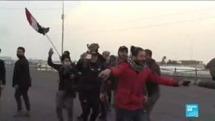2020-01-24 10:05 Contestation en Irak : Des centaines d'irakiens présents pour manifester contre la présence américaine