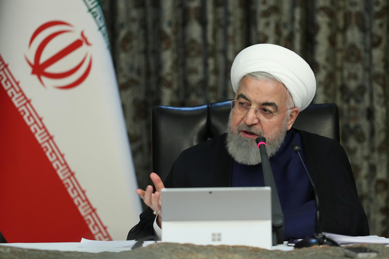Le président iranien, Hassan Rohani, lors d'une allocution après une réunion de crise sur le coronavirus le 21 mars 2020.