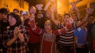 جانب من التظاهرات الشعبية في مدينة الحسيمة في العاشر من حزيران/يونيو 2017