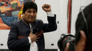 El presidente de Bolivia, Evo Morales, habla durante una conferencia de prensa en el palacio presidencial La Casa Grande del Pueblo en La Paz, Bolivia, 24 de octubre de 2019.