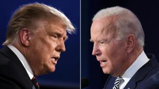 الرئيس الأميركي دونالد ترامب ومنافسه الديموقراطي جو بايدن خلال مناظرتهما التلفزيونية في 29 ايلول/سبتمبر 2020 في كليفلاند.