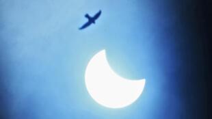 Une éclipse partielle solaire vue depuis Kurukshetra (Inde), le 21 juin 2020