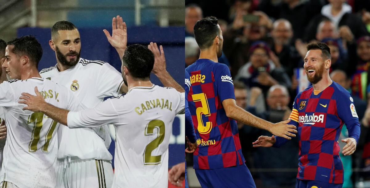 الدوري الإسباني- كرة القدم- من اليمين لاعب نادي برشلونة ليونال ميسي يحتفي مع زملائه بهدفه الثالث ضد نادي سيلتا فيجو من اليسا كريم بنزيمة لاعب ريال مدريد يحتفل بتسجيل هدفه الثالث من ركلة جزاء. الصورتان بتاريخ 9 نوفمبر/ تشرين الثاني 2019