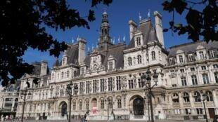 La fotografía tomada el 23 de junio de 2020 muestra el ayuntamiento de París o el Hotel du Ville. La segunda vuelta de las elecciones municipales francesas se celebrará el 28 de junio de 2020.