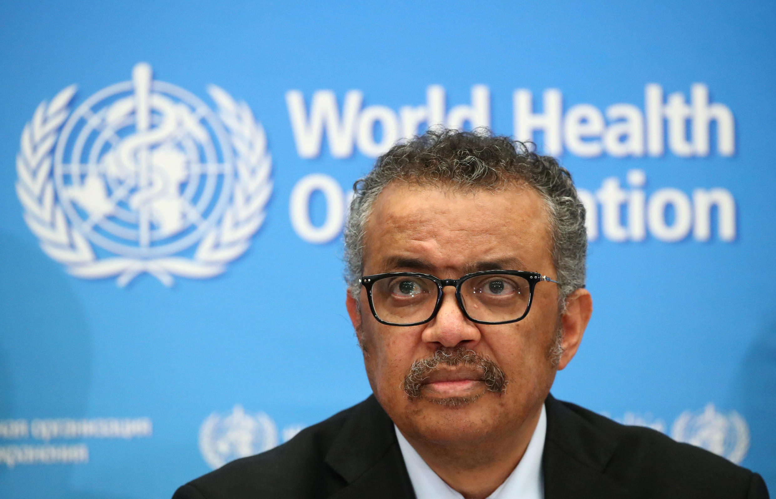 Director-General of the WHO, Tedros Adhanom Ghebreyesus, attends a news conference on the coronavirus in Geneva, Switzerland, February 24, 2020.