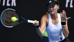 La Française Kristina Mladenovic lors de son match de l'Open d'Australie contre l'Américaine Jessica Pegula, le 13 février 2021 à Melbourne